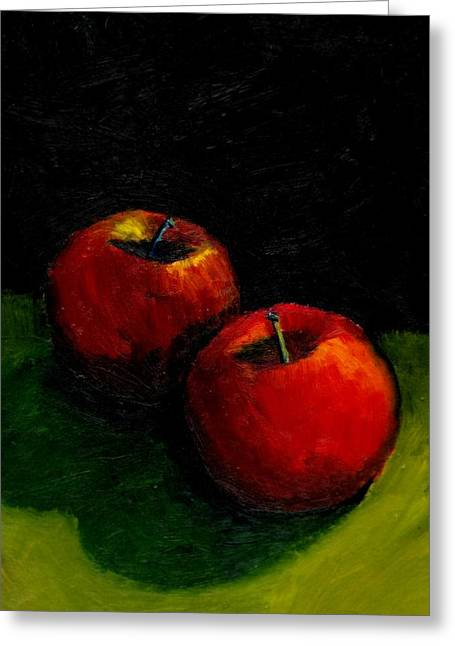 Apple Paintings Greeting Cards - Two Red Apples Still Life Greeting Card by Michelle Calkins