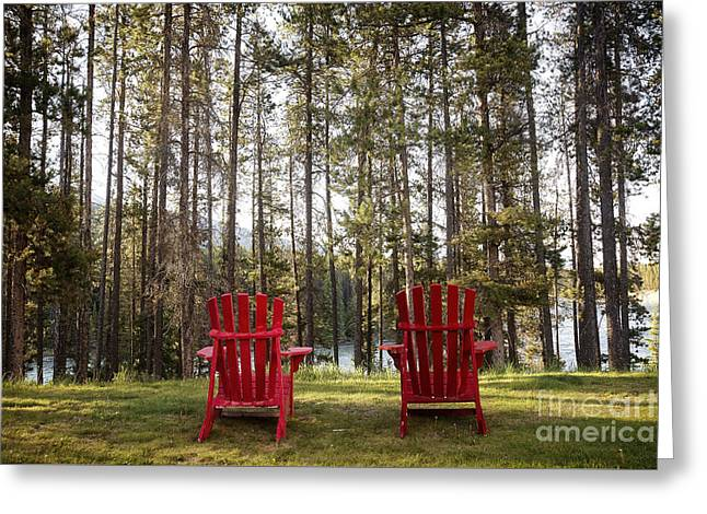 Greeting Cards - Two red chairs Greeting Card by Ivy Ho