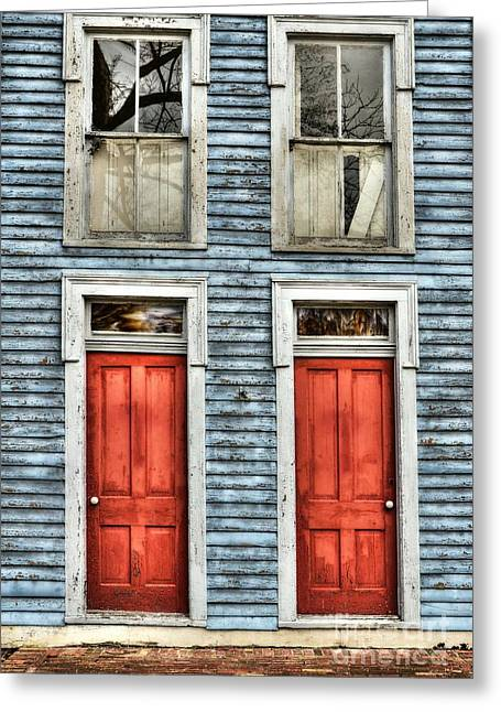 Old Wood Building Greeting Cards - Two Red Doors Greeting Card by Mel Steinhauer