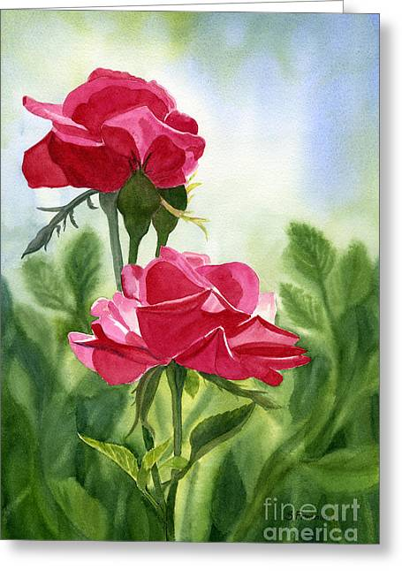 Two Red Roses With Leafy Background Greeting Card by Sharon Freeman