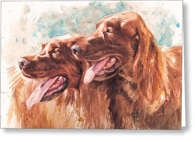 Scottsdale Artist Greeting Cards - Two Redheads Greeting Card by Debra Jones