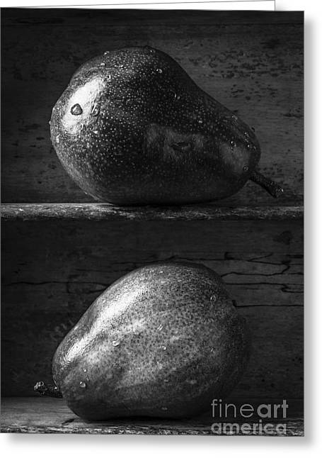 Two Ripe Pears In Black And White Greeting Card by Edward Fielding
