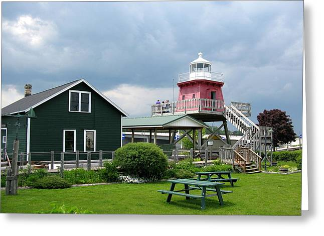 Historic Site Greeting Cards - Two Rivers Lighthouse 2 Greeting Card by Cindy Kellogg