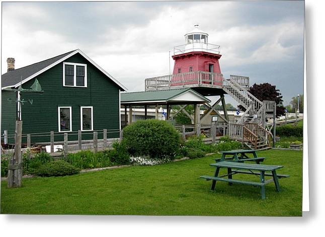 Historic Site Greeting Cards - Two Rivers Lighthouse Greeting Card by Cindy Kellogg