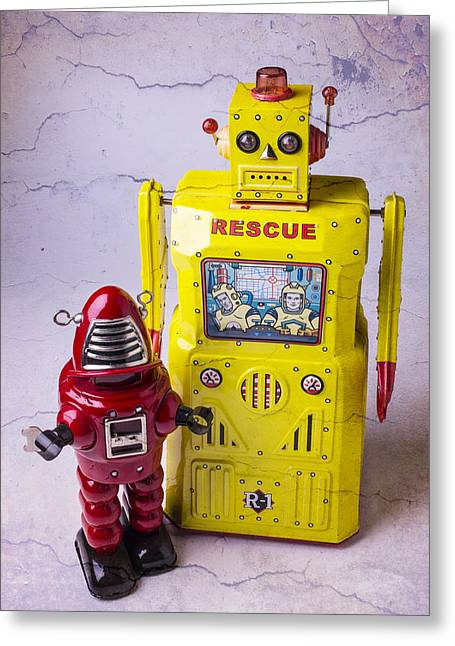Robotic Life Greeting Cards - Two Robots Greeting Card by Garry Gay