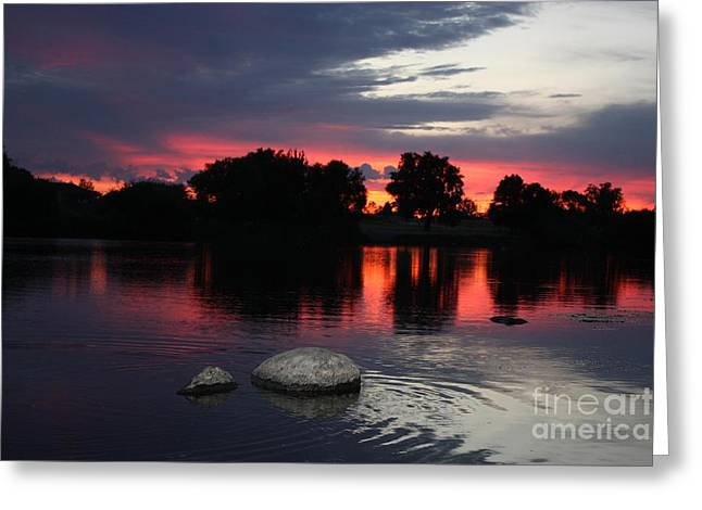 Reflections Of Sky In Water Greeting Cards - Two Rocks Sunset in Prosser Greeting Card by Carol Groenen