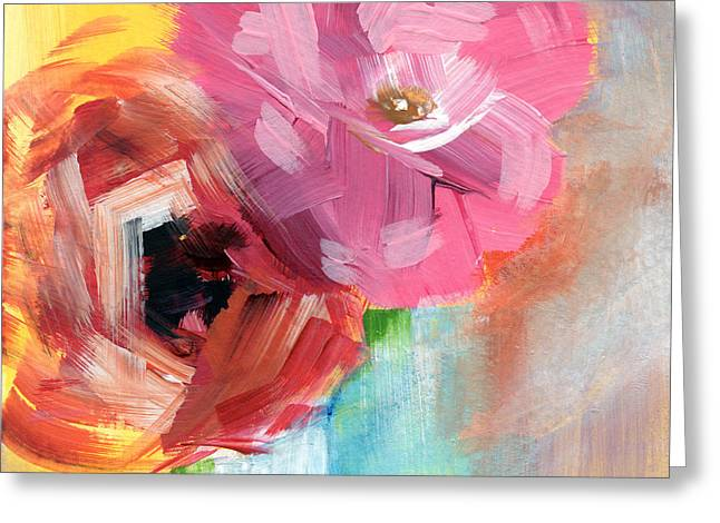 Two Roses- Art By Linda Woods Greeting Card by Linda Woods