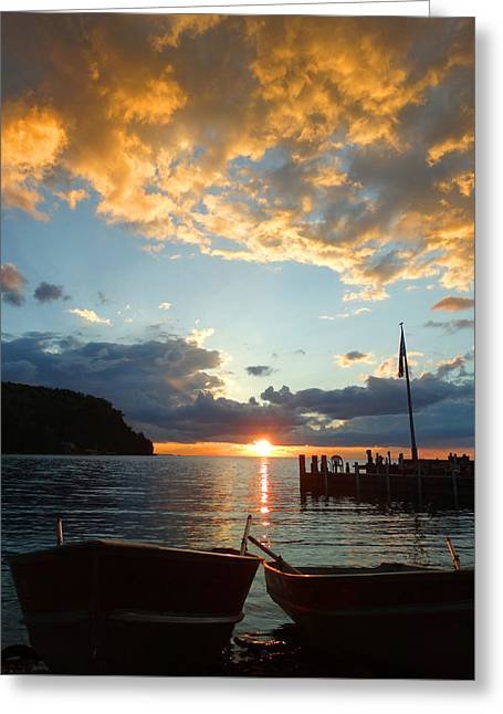 Two Rowboat Sunset Greeting Card by David T Wilkinson