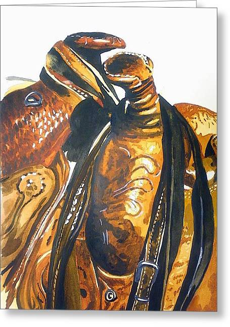 Straps Paintings Greeting Cards - Two Saddles Greeting Card by Corin Newton