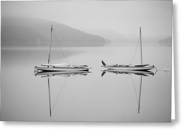 Boats On Water Greeting Cards - Two Sailboats Reflected In A Calm Greeting Card by James Smedley