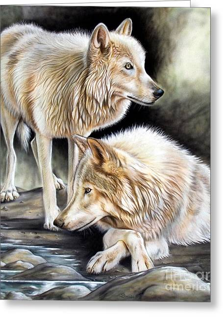 Animals Tapestries - Textiles Greeting Cards - Two Greeting Card by Sandi Baker