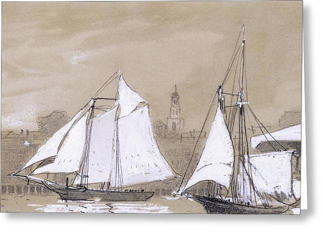 Sailboat Art Greeting Cards - Two Schooners Greeting Card by Winslow Homer