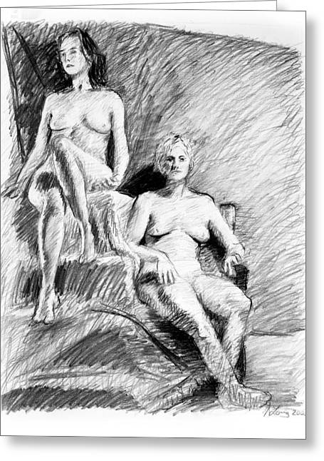 Adam Drawings Greeting Cards - Two seated nudes figure drawing Greeting Card by Adam Long