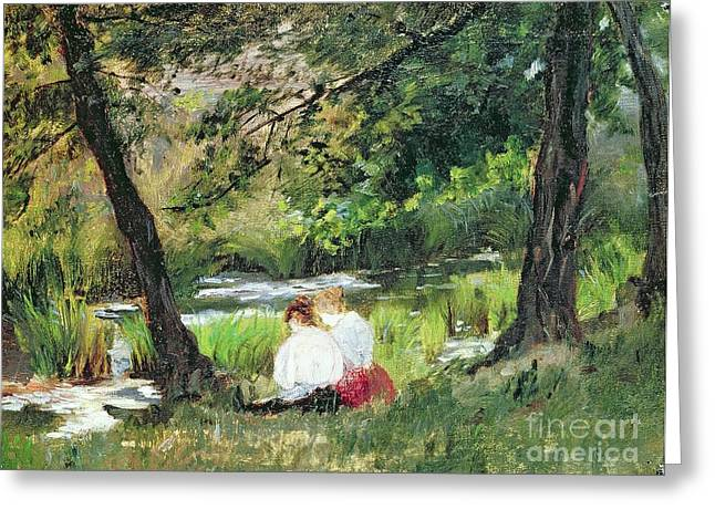 Two Seated Women Greeting Card by Mary Stevenson Cassatt