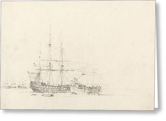 Two Ships At Anchor Greeting Card by John Constable