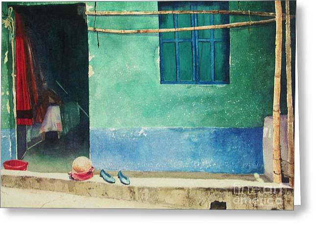 Guatemalan Home Greeting Cards - Two Shoes and a Melon Greeting Card by Elizabeth Carr