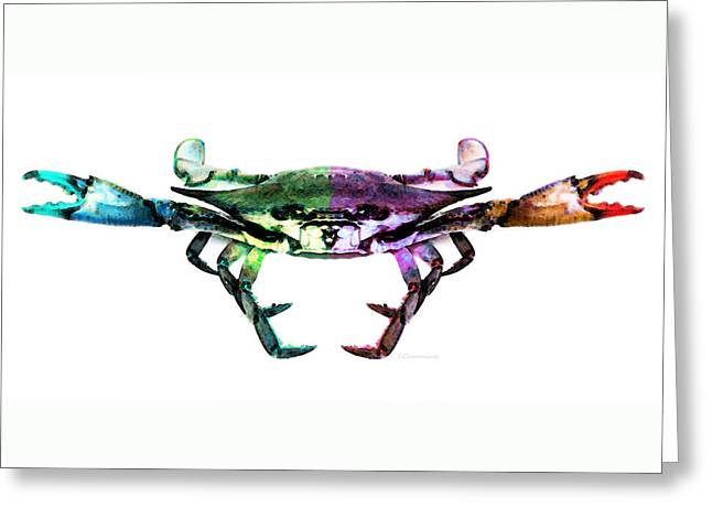 Blue Claws Greeting Cards - Two Sides - Duality Crab Art Greeting Card by Sharon Cummings