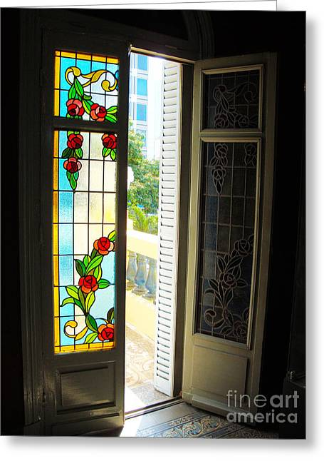 French Doors Greeting Cards - Two Sides To Every Door Greeting Card by Kim Magee and Crystal Mclean  Aunt and Niece Photography