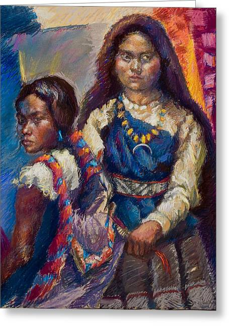 Figurative Pastels Greeting Cards - Two Sisters Greeting Card by Ellen Dreibelbis