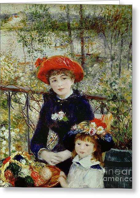 Renoir Greeting Cards - Two Sisters Greeting Card by Pierre Auguste Renoir
