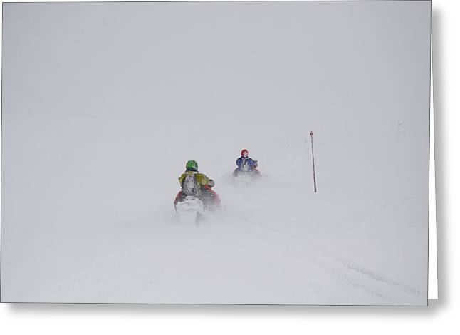 Snowmobile Greeting Cards - Two Snowmobilers Disappear Greeting Card by Taylor S. Kennedy