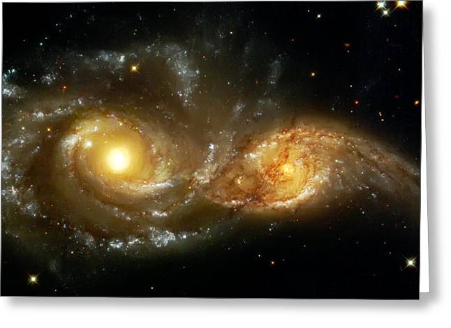 Hubble Photographs Greeting Cards - Two Spiral Galaxies Greeting Card by The  Vault - Jennifer Rondinelli Reilly