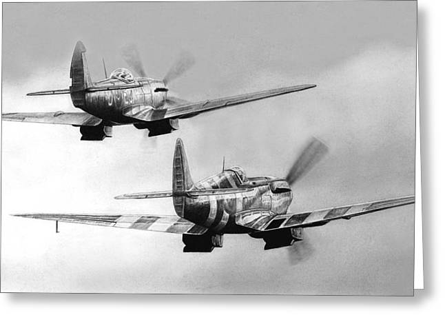 Spitfire Drawings Greeting Cards - Two Spits Greeting Card by Lyle Brown