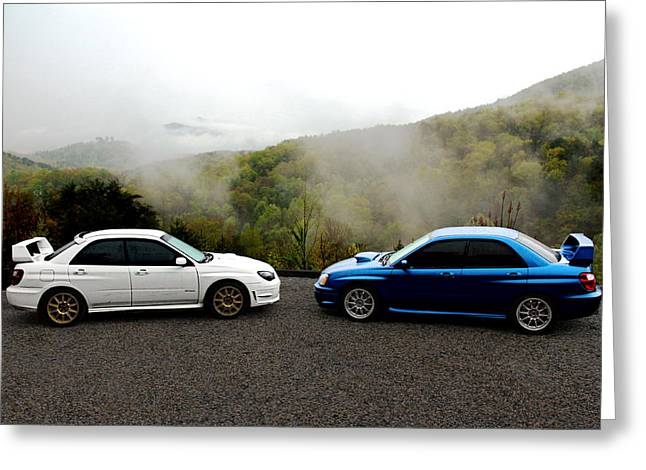 Subaru Rally Greeting Cards - Two Subarus in the Smoky Mountains Greeting Card by Erin Hissong
