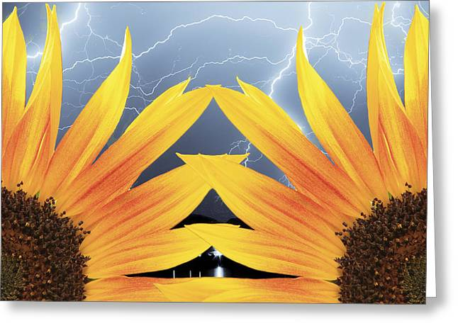 Unusual Lightning Greeting Cards - Two Sunflower lightning Storm Greeting Card by James BO  Insogna