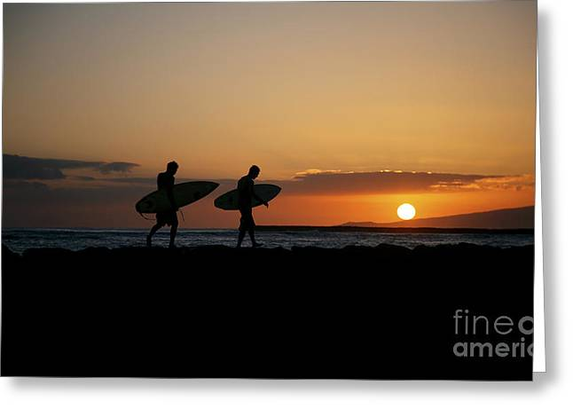Surfing Art Greeting Cards - Two Sunset Surfers Greeting Card by Brandon Tabiolo - Printscapes