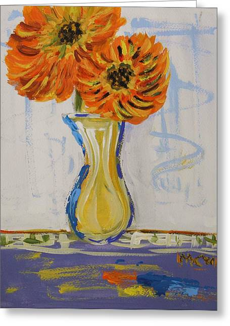 Vivid Colour Drawings Greeting Cards - Two Sunshine Flowers Greeting Card by Mary Carol Williams