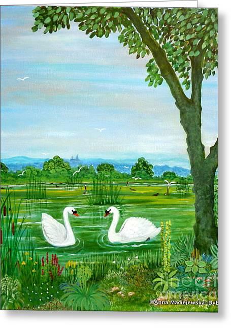 Two Swans Greeting Card by Anna Folkartanna Maciejewska-Dyba