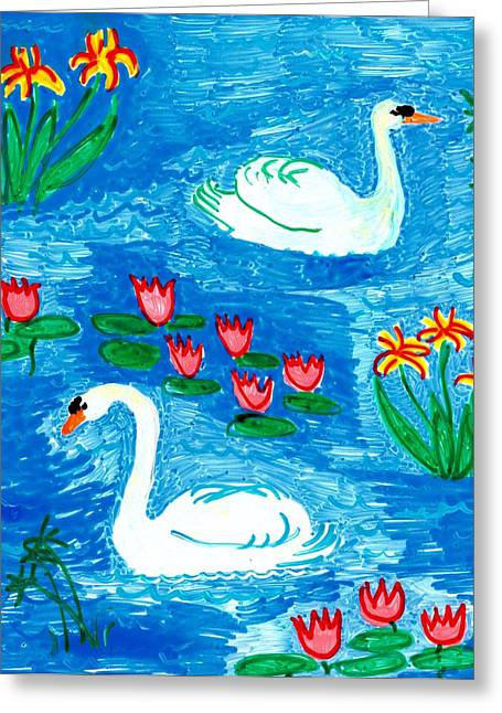 Irises Ceramics Greeting Cards - Two Swans Greeting Card by Sushila Burgess