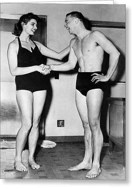 Record Breaker Greeting Cards - Two Swimming Stars Greeting Card by Underwood Archives