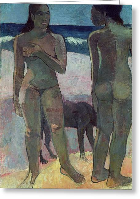 Two Tahitian Women On The Beach Greeting Card by Paul Gauguin