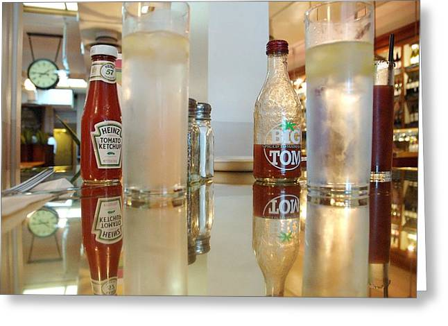 Heinz Ketchup Greeting Cards - Two Tall Glasses of Water Greeting Card by Meghan Arts-Scozzari