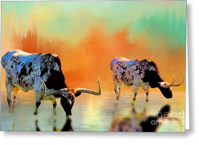 Steer Greeting Cards - Two Texas Longhorns at Watering Hole Greeting Card by Janette Boyd