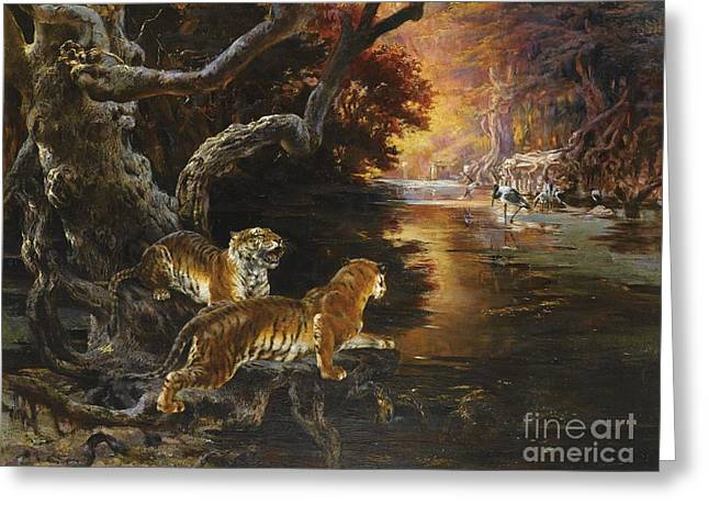 The Tiger Greeting Cards - Two Tigers On The Hunt Greeting Card by Rudolf Ernst