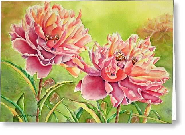 Two To Tango - Peonies Greeting Card by Kathryn Duncan