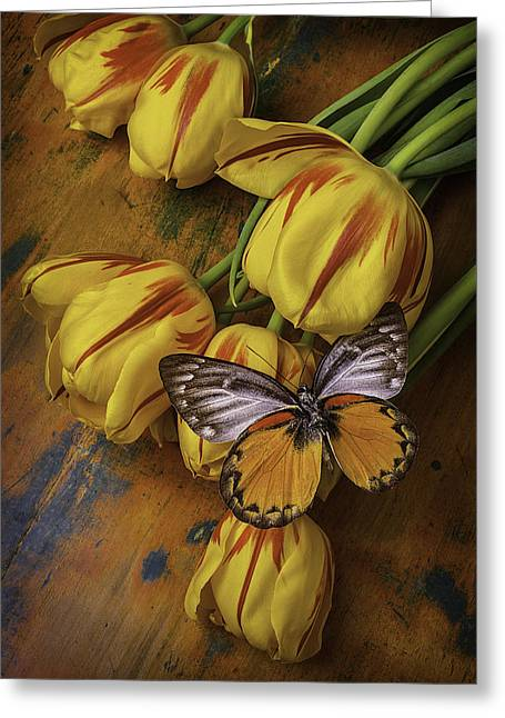 Red Tulips Greeting Cards - Two tone Butterfly Greeting Card by Garry Gay