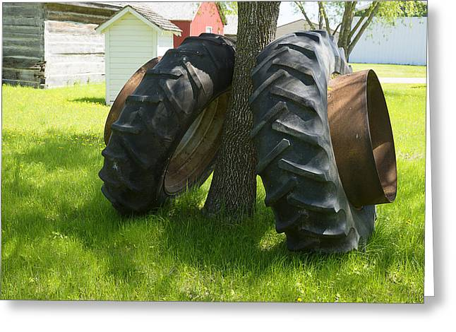 Flower Design Greeting Cards - Two Tractor Wheels Leaning against Tree Greeting Card by Donald  Erickson