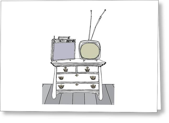 Hardware Drawings Greeting Cards - Two TVs on a Chest of Drawers Greeting Card by Stan  Magnan