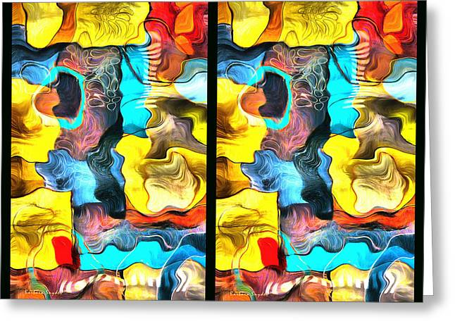 Abstract Digital Paintings Greeting Cards - Two Up Abstract Panel Greeting Card by Barbara Snyder