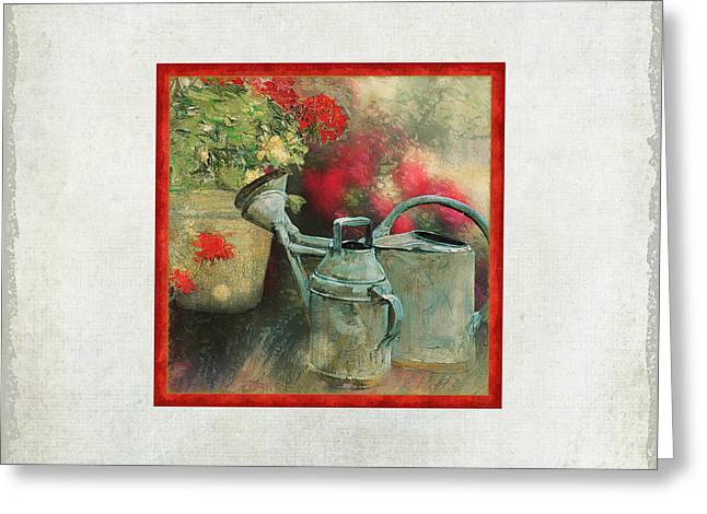 Old Master Greeting Cards - Two Watering Cans in the Garden Greeting Card by Audrey Jeanne Roberts