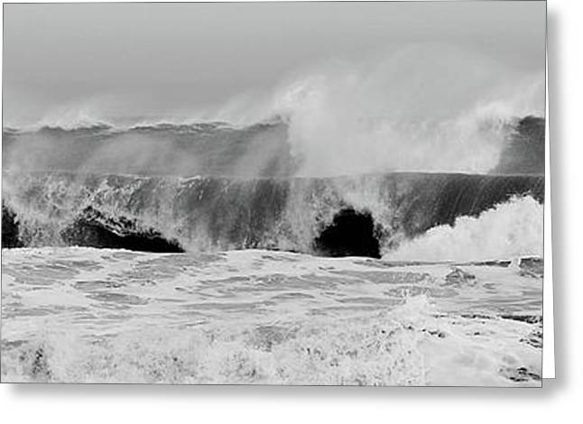 Storm Framed Prints Greeting Cards - Two Waves Are Better Than One - Jersey Shore Greeting Card by Angie Tirado