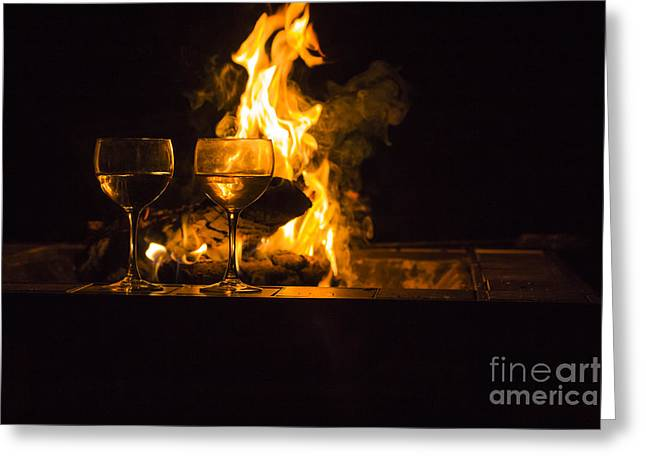 Wine Scene Greeting Cards - Two Wine Glasses Fire Greeting Card by Aaron Bastin