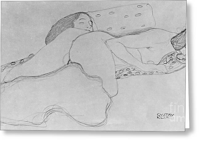 Two Women Asleep Greeting Card by Gustav Klimt