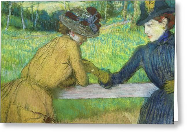 Meeting Pastels Greeting Cards - Two women leaning on a gate Greeting Card by Edgar Degas