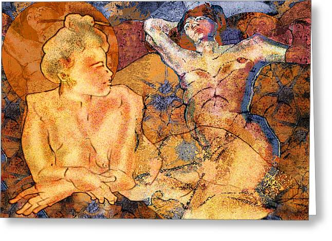 Nudist Greeting Cards - Two Women Relaxing in Spirit  Greeting Card by Mary Ogle