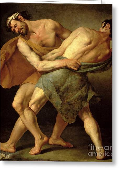 Two Wrestlers Greeting Card by Cesare Francazano